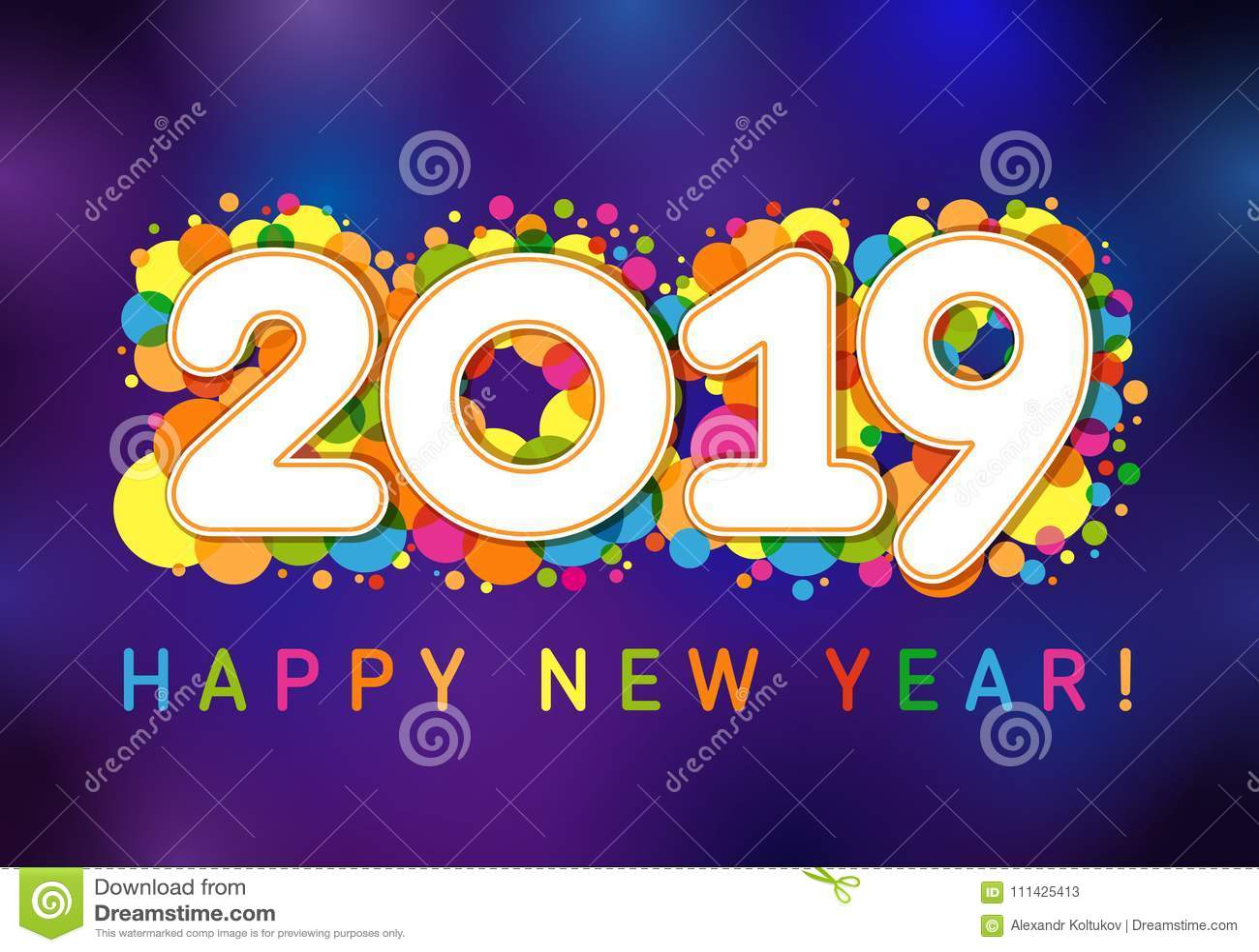 2019 Happy New Year Xmas Greetings. Stock Vector - Illustration of ...