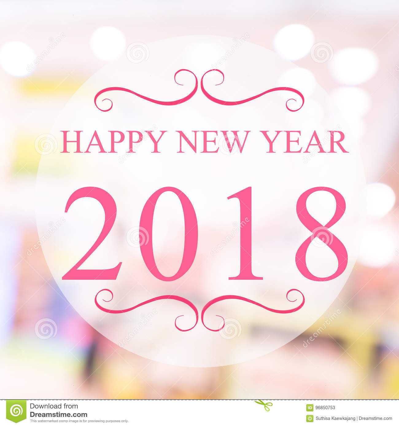 Happy New Year 2018 Year On Beautiful Blur Background Shopping M ...