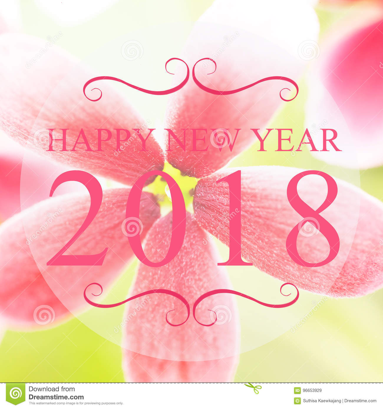 happy new year 2018 year on beautiful flower blur background pi