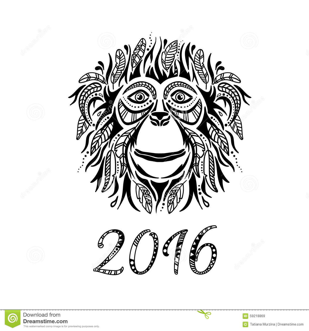 Happy new year 2016 year of the monkey stock for Year of the monkey tattoo