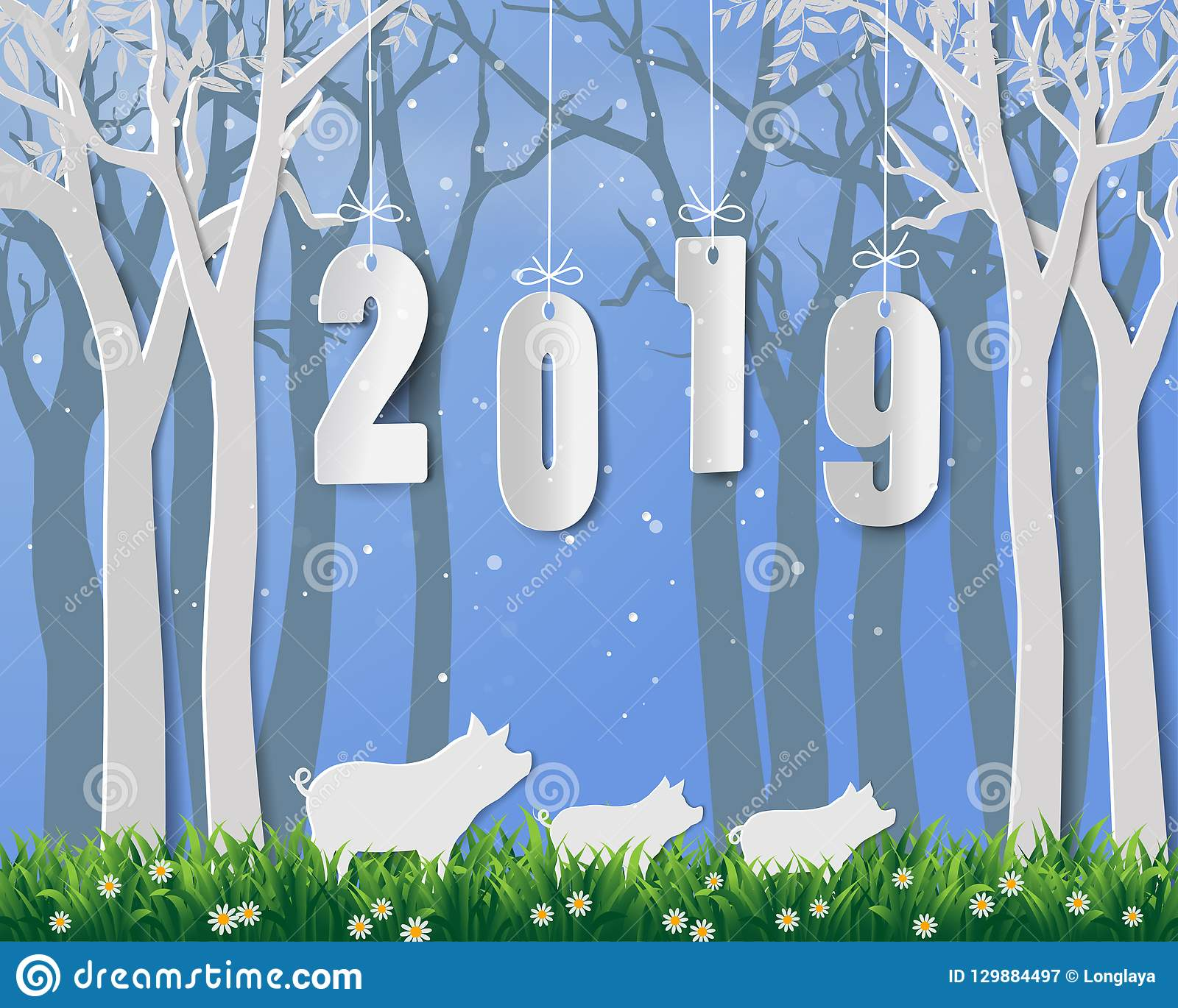 Happy New Year 2019 Year Of Pig On Paper Art And Craft Design Stock