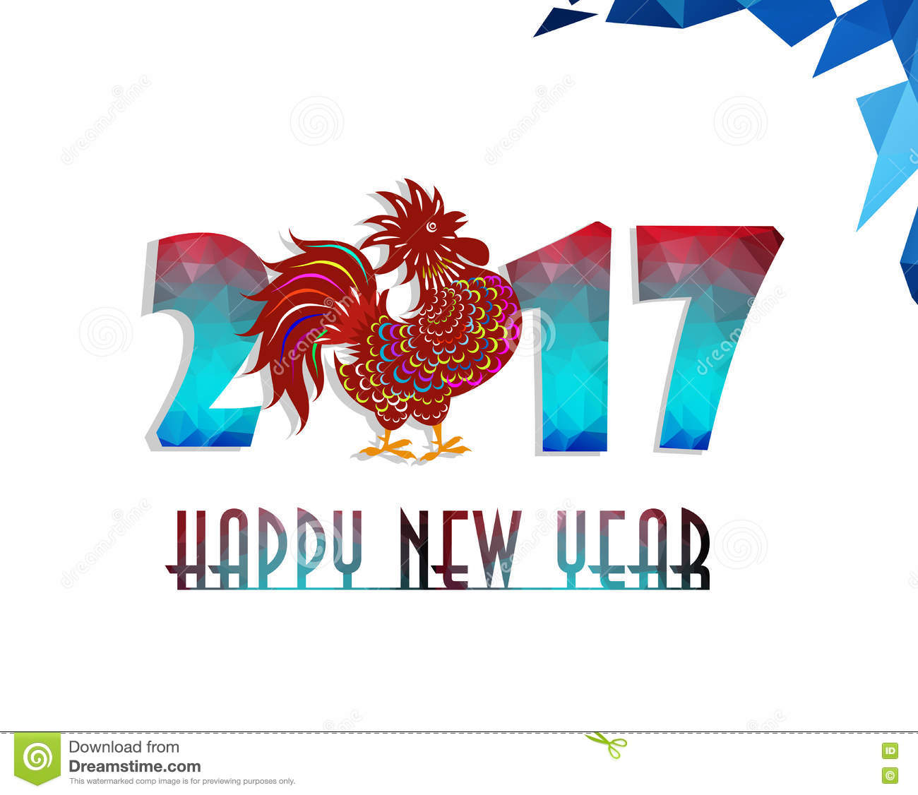New year 2017 greeting pictures year of rooster happy chinese new year - Happy New Year 2017 Year Of Rooster With Beautiful Colorful And Bright Polygon Rooster Stock