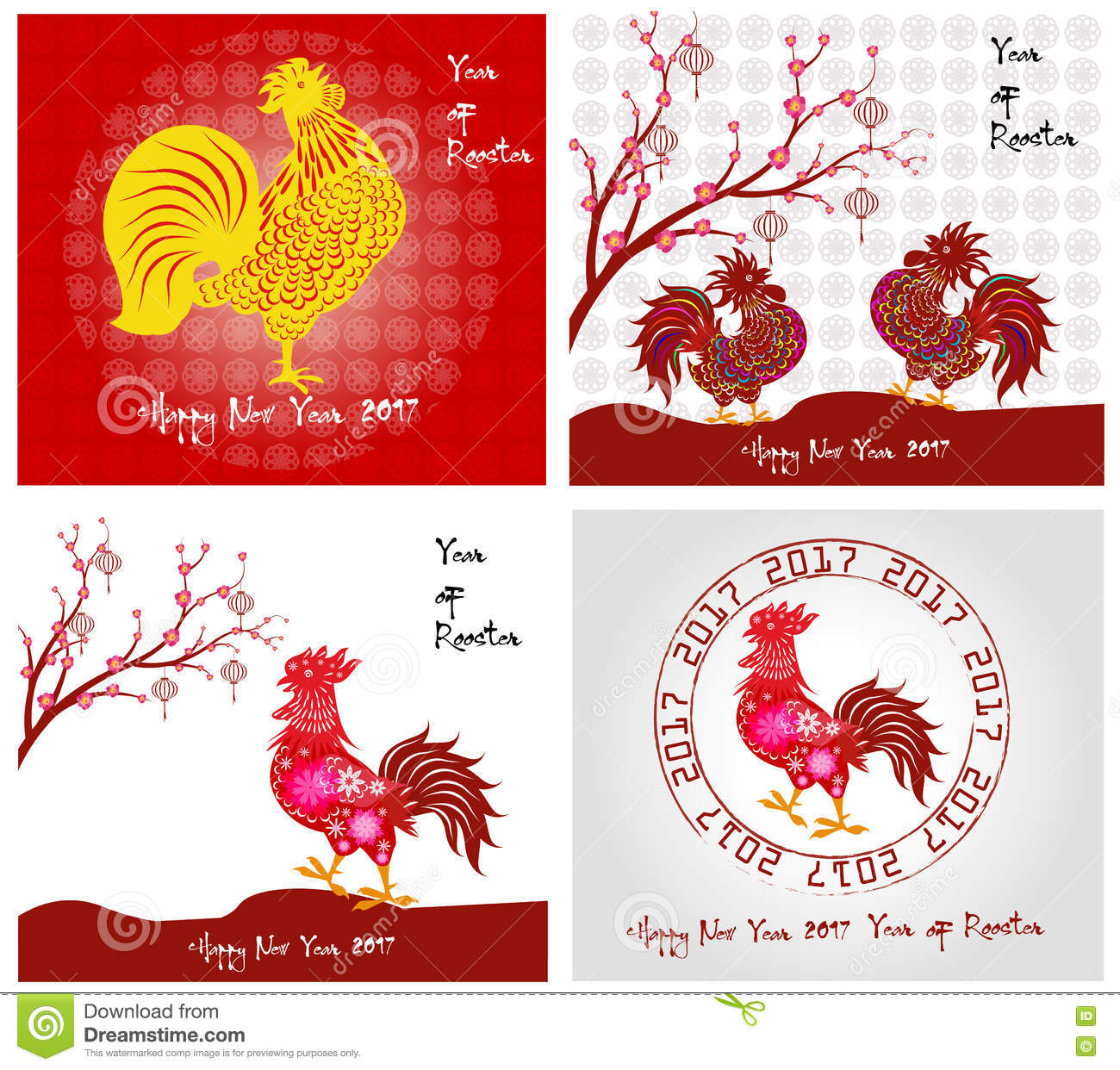 happy new year 2017 year of rooster collection cartoon