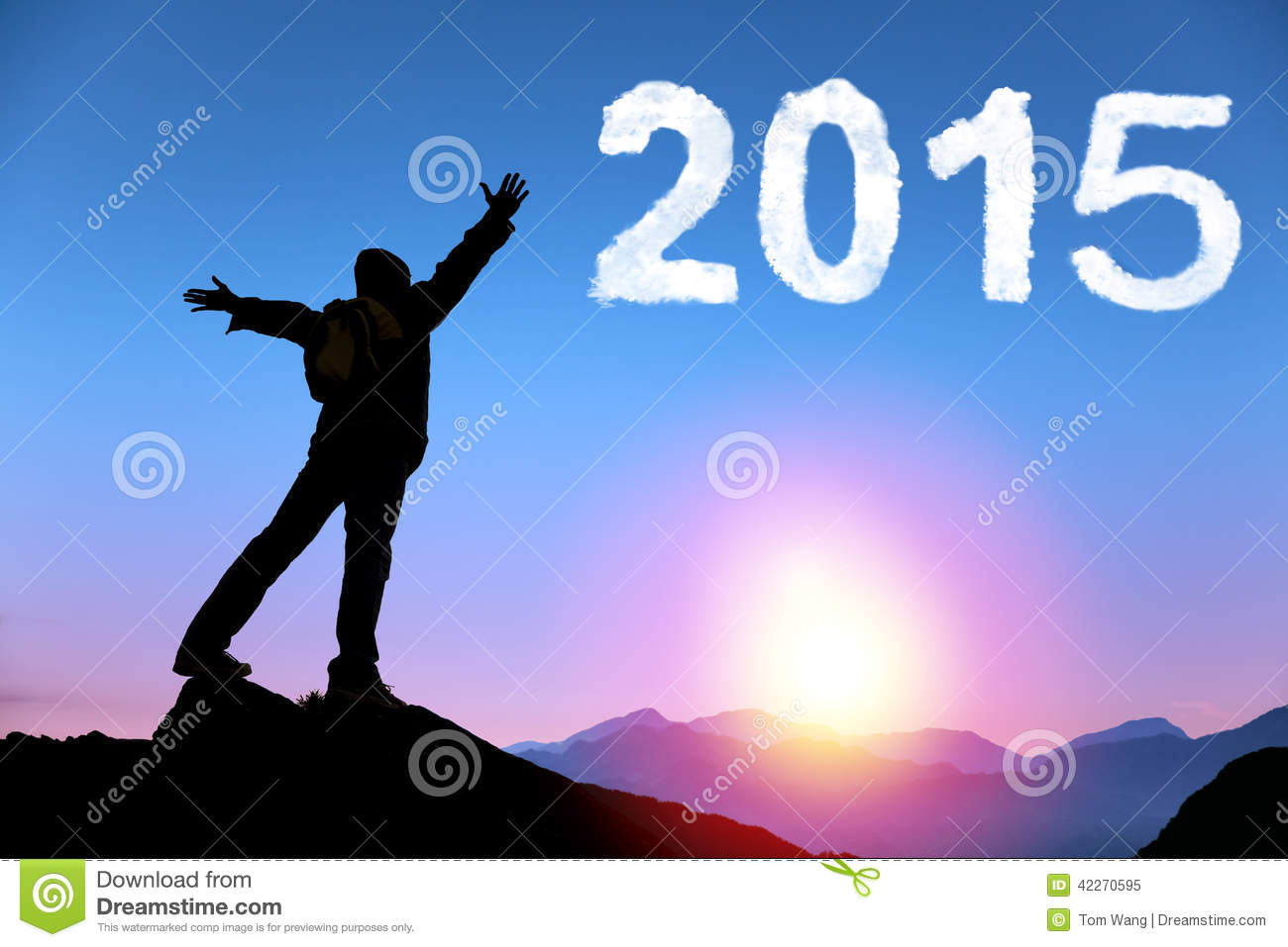 Happy new year 2015. young man standing on the top of mountain