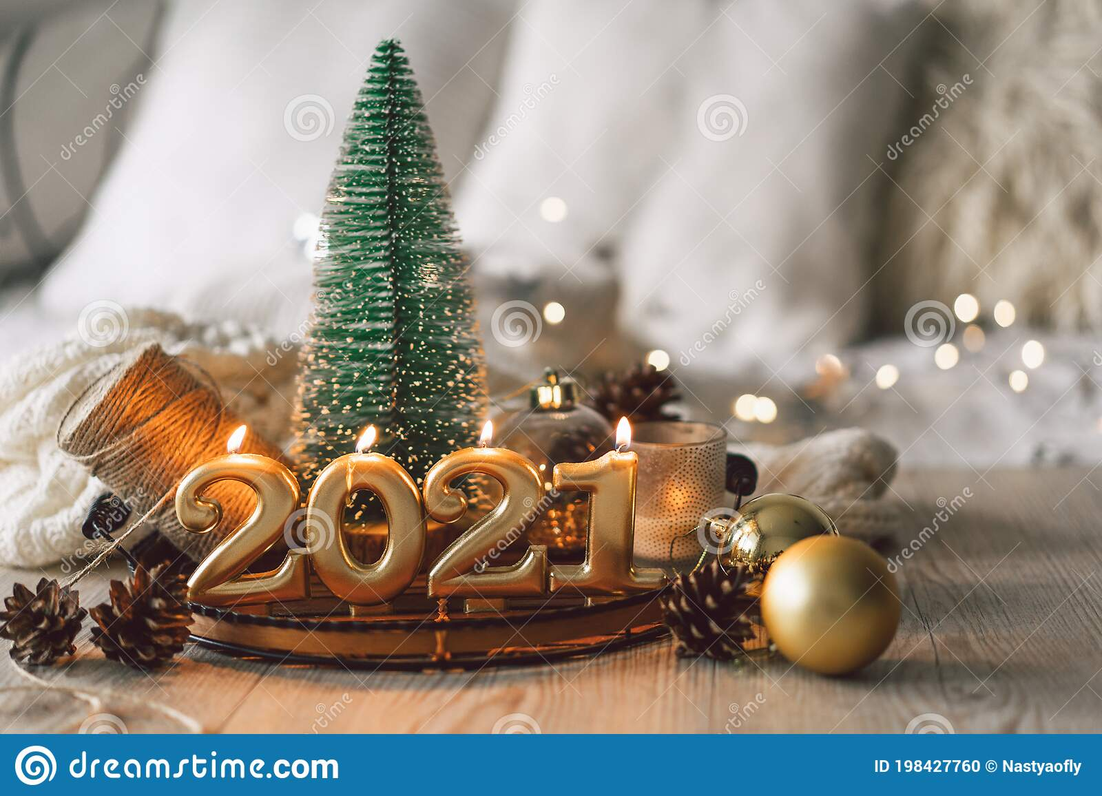 2021 Christmas Ebvent Happy New Years 2021 Christmas Background With Fir Tree Cones And Christmas Decorations Stock Photo Image Of Background Event 198427760
