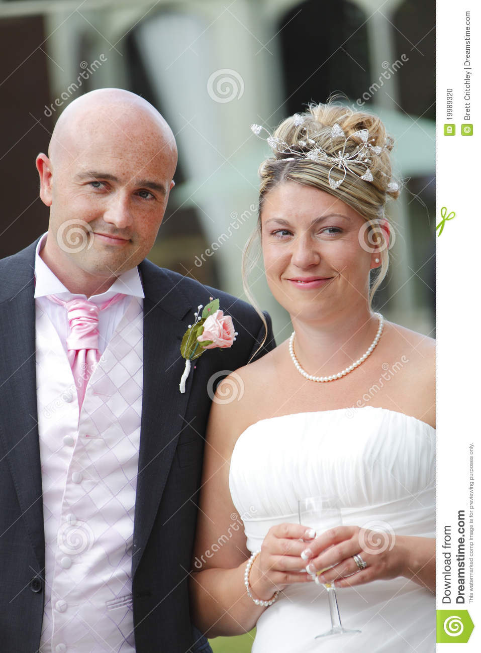 Happy newly married couple now bride and groom become husband and wife