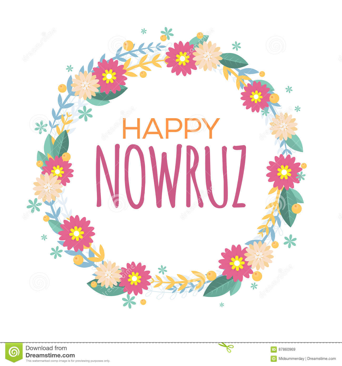 Happy nowruz greeting card with flowers and leaves iranian happy nowruz greeting card with flowers and leaves iranian persian new year march equinox colorful floral wreath kristyandbryce Gallery