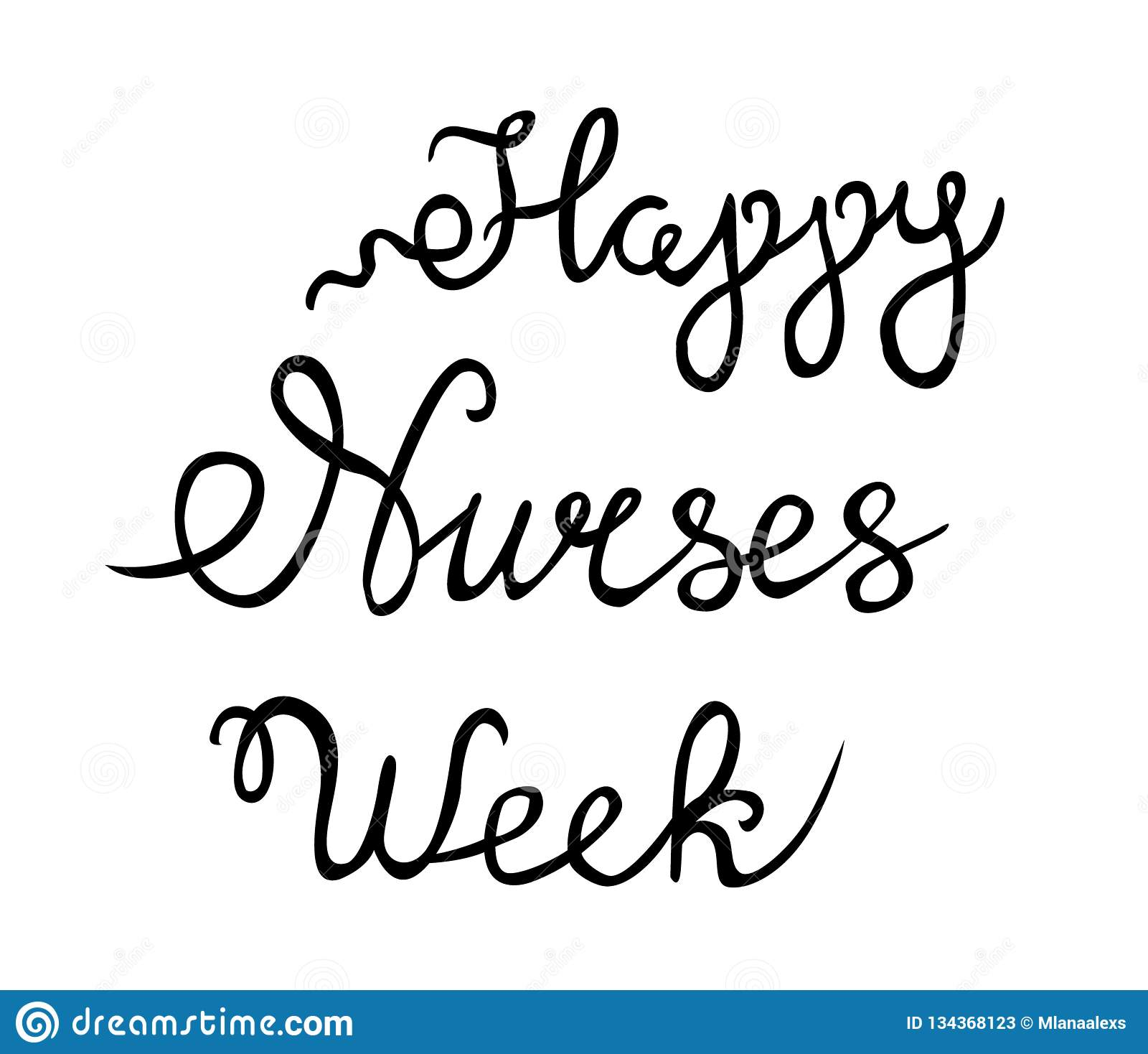 Happy Nurses Week vector, hand lettered happy nurses week vector