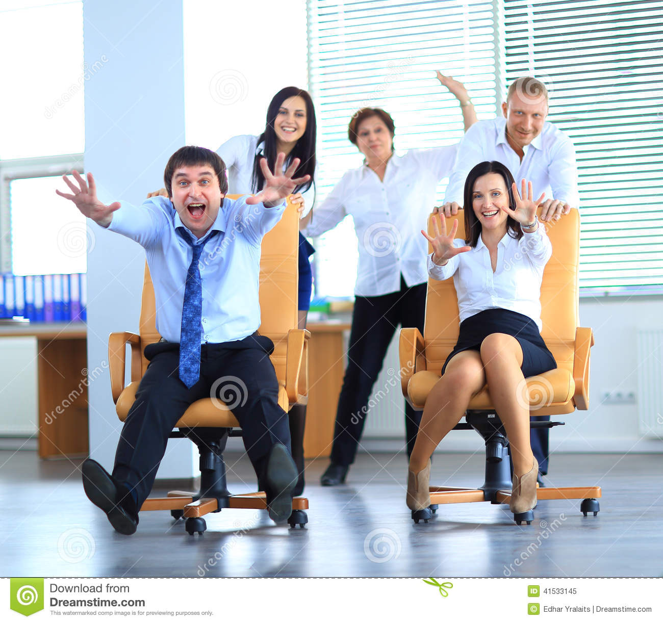 Happy Office Employees Having Fun At Work Stock Photo Image