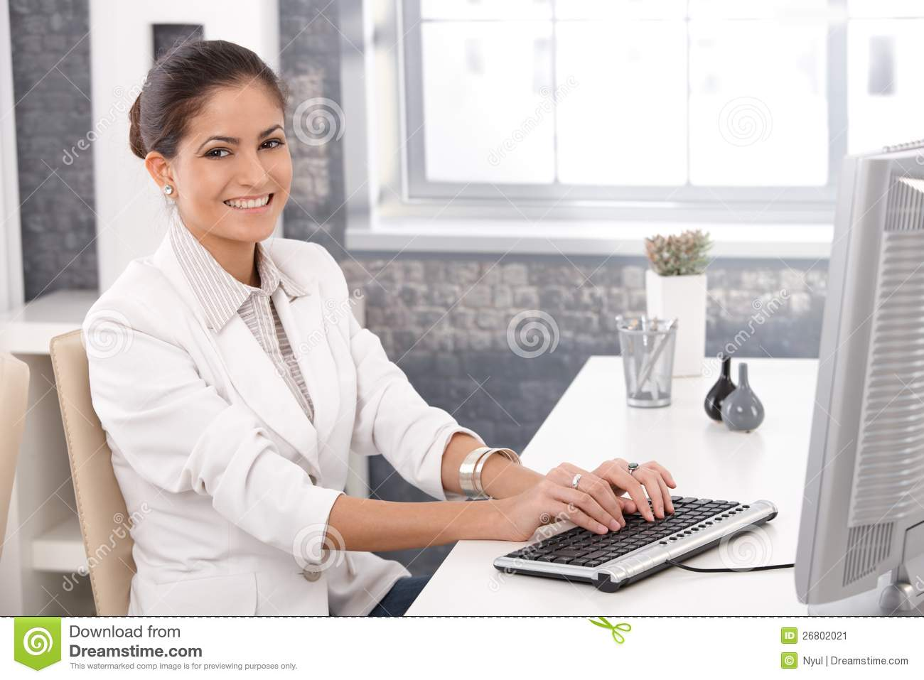Happy Office Girl Working On Computer Stock Image Image