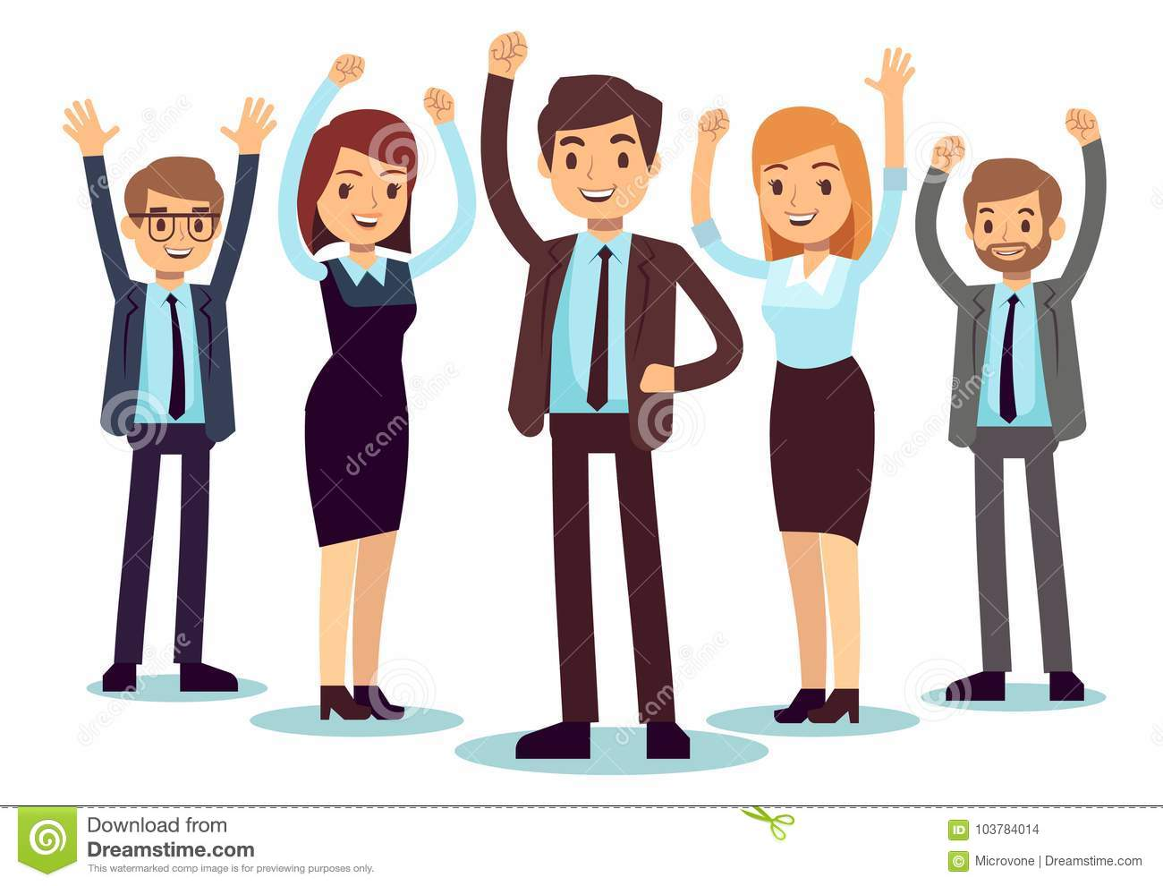 Happy office people. Successful business man and woman vector character