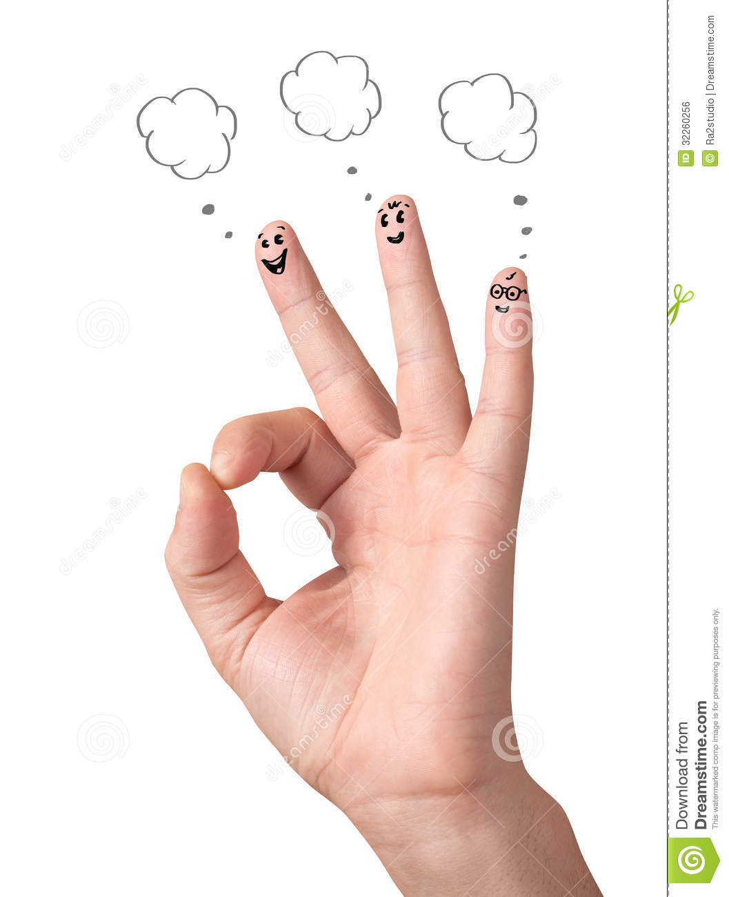 Happy ok fingers with speech bubbles and signs