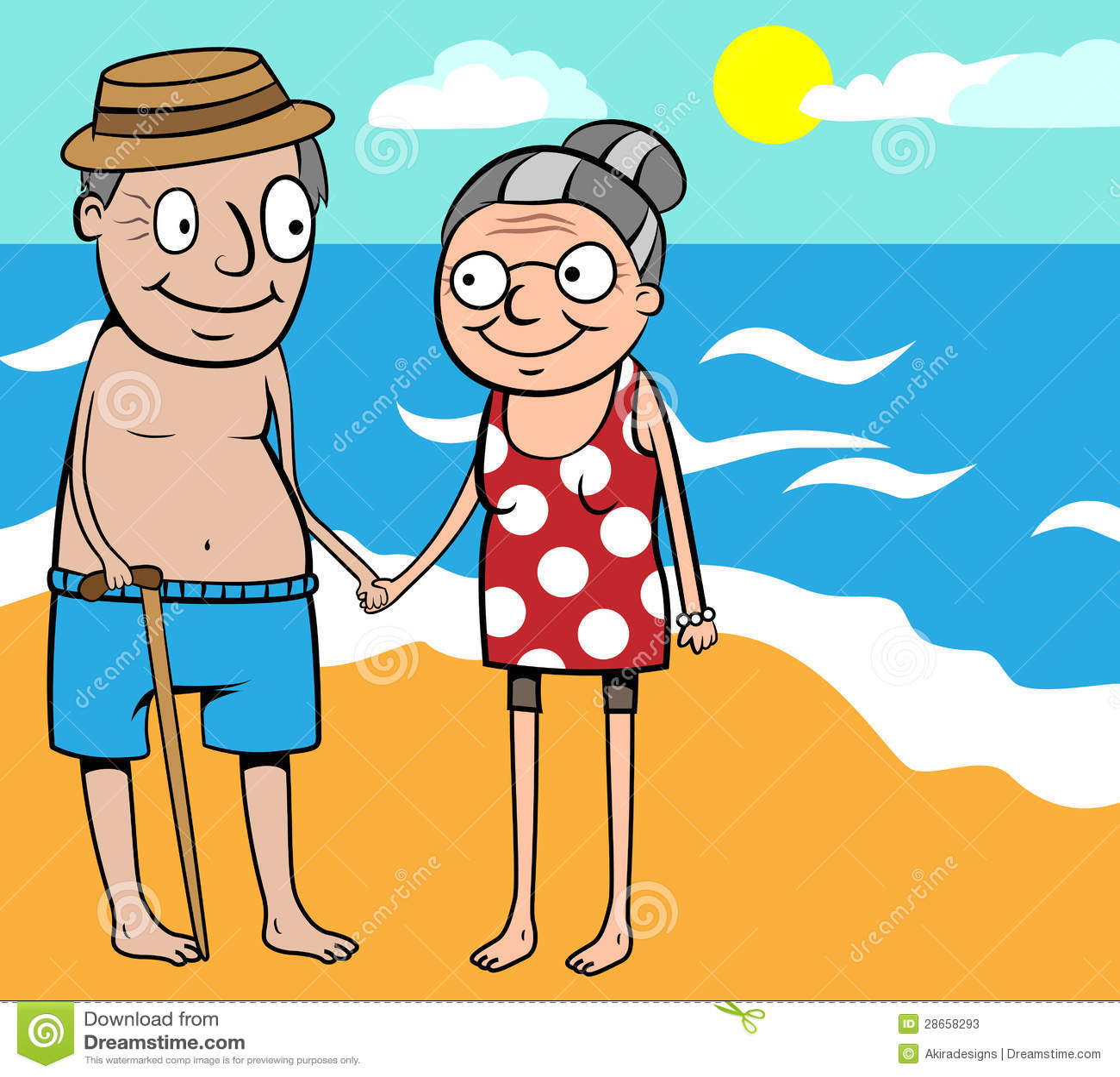 Couple Enjoying Their Summer Holidays Stock Photo: Happy Old Couple Summer Holiday By Sea Stock Vector