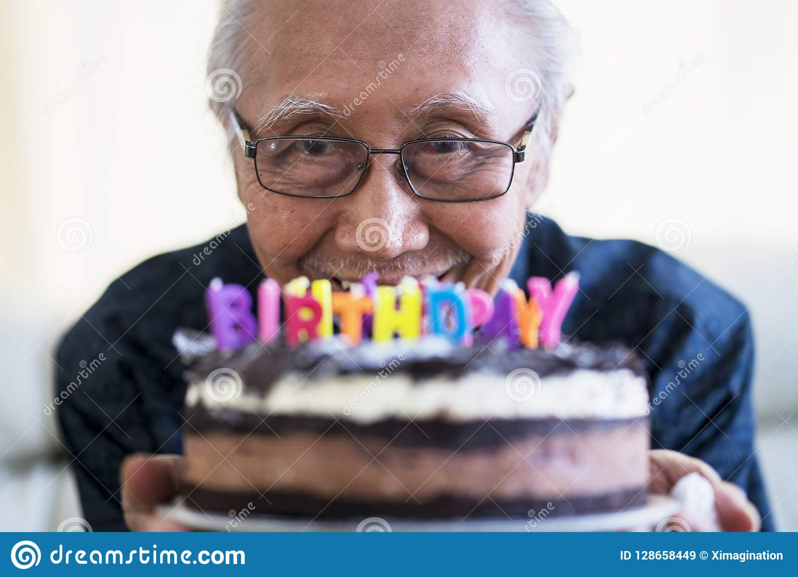Peachy Happy Old Man Holding Chocolate Birthday Cake Stock Image Image Personalised Birthday Cards Veneteletsinfo