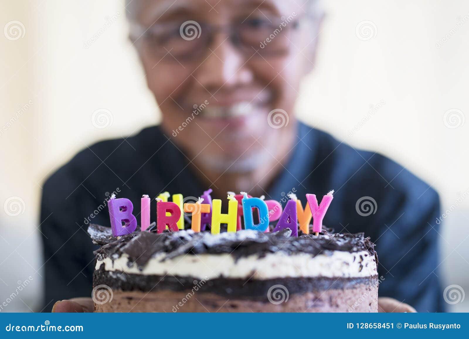Phenomenal Happy Old Man Showing Birthday Cake Stock Image Image Of Happy Personalised Birthday Cards Veneteletsinfo