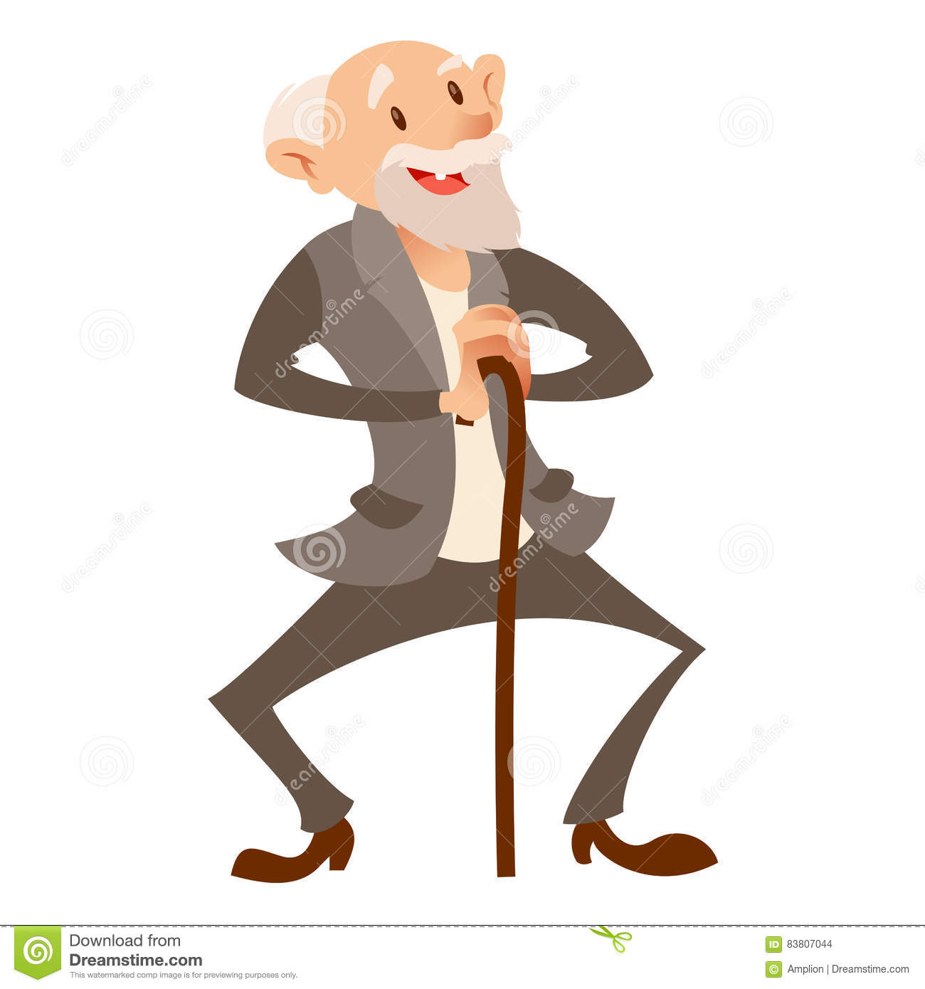 happy-old-man-vector-image-flat-83807044