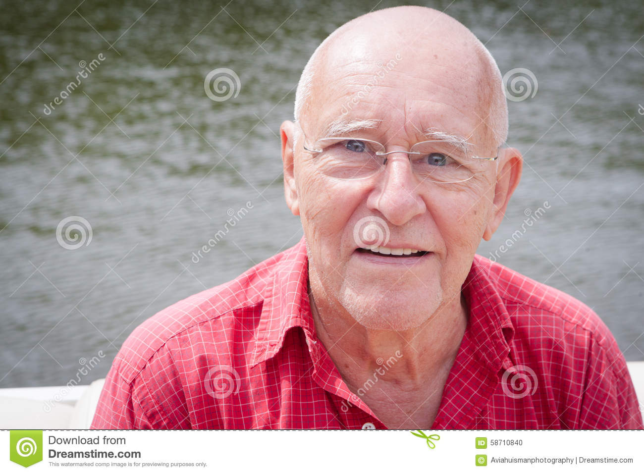 Happy Old Man by Water