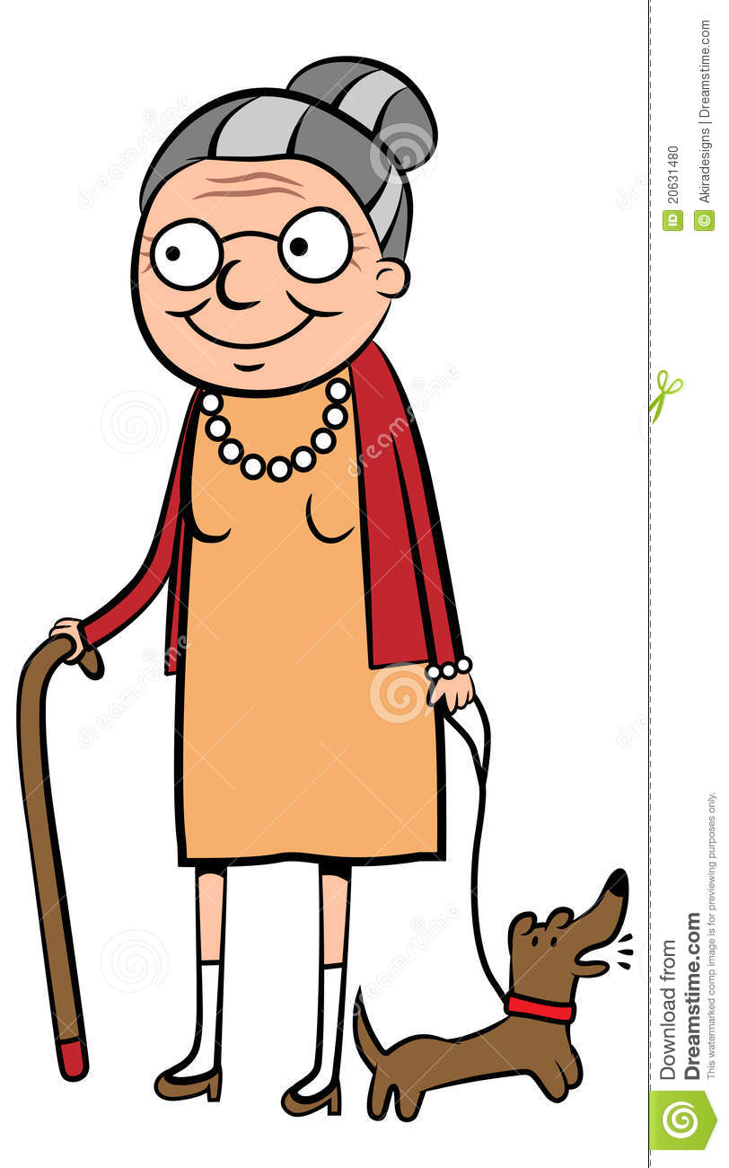 Vector illustration of a happy old woman walking her dog.