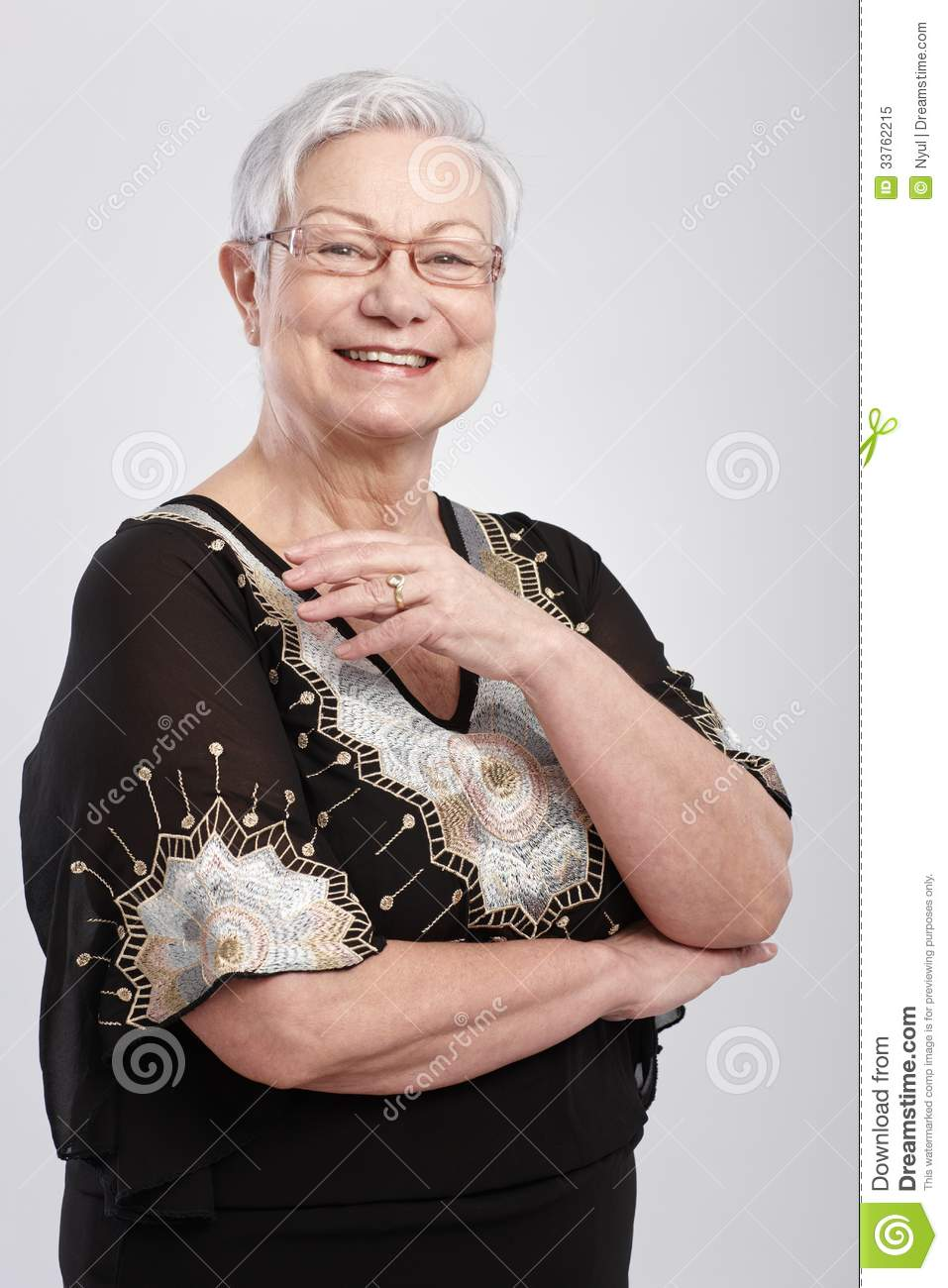 645cfcbd826 Happy Old Woman In Evening Dress Stock Image - Image of female ...