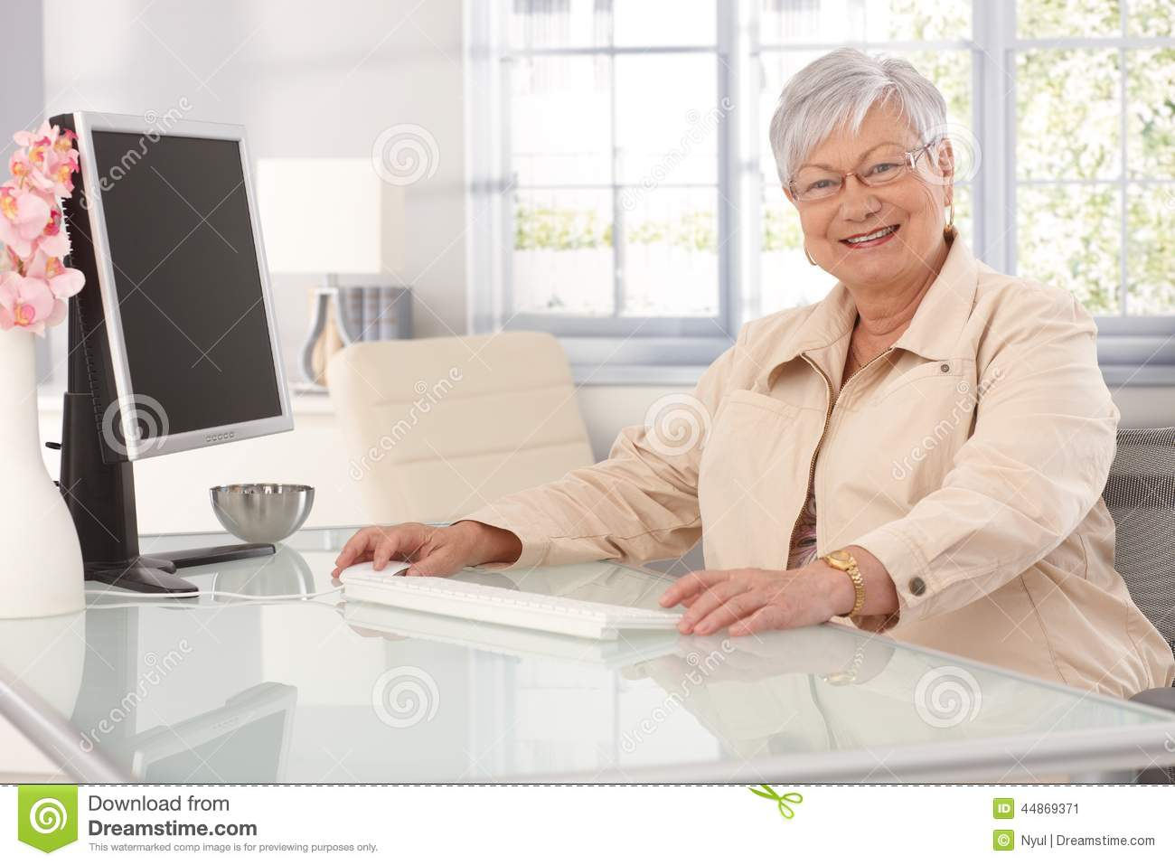 Woman on old computer