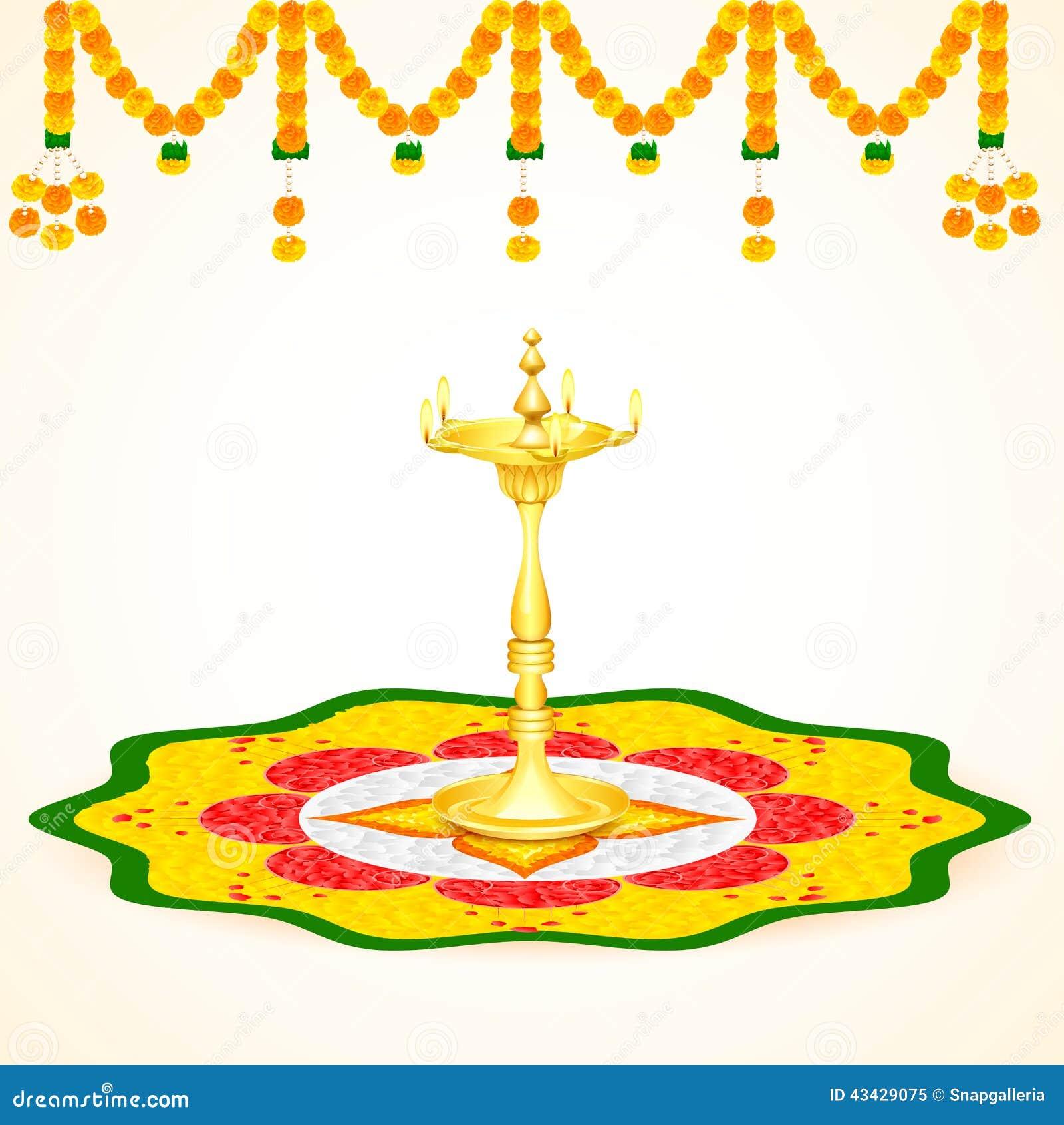 Happy Onam Background Stock Vector Illustration Of Pooja