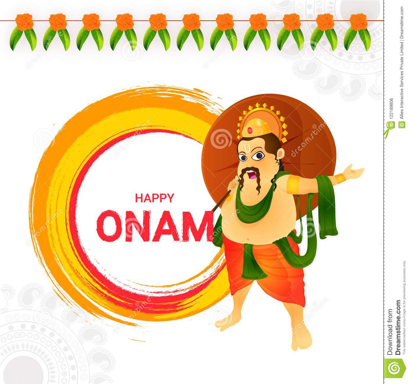 Happy Onam Greeting Card Design With Illustration Of King Mahaba