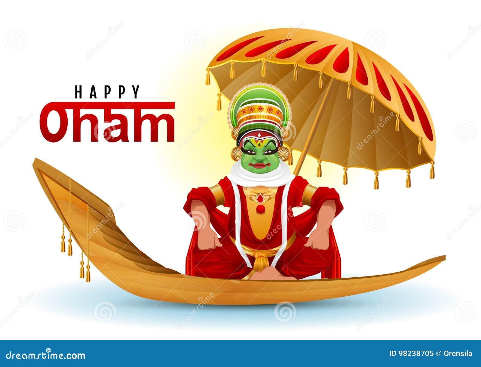 Happy Onam Greeting Card Hindu Festival Of Kerala In India Stock