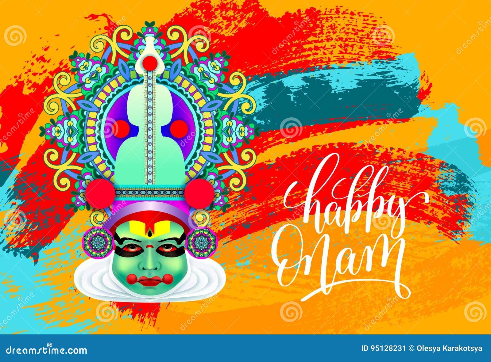 Happy onam greeting card with indian kathakali dancer face stock download happy onam greeting card with indian kathakali dancer face stock vector illustration of kerala m4hsunfo