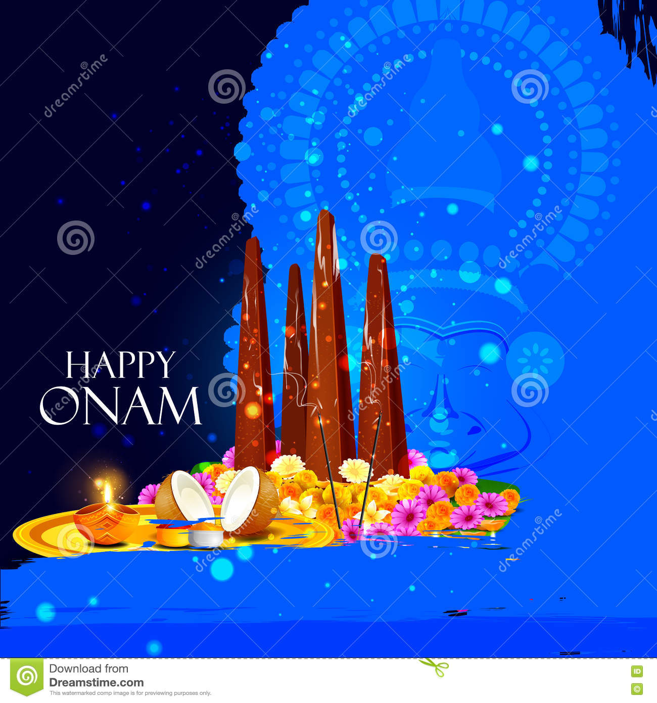 Happy Onam Holiday For South India Festival Background