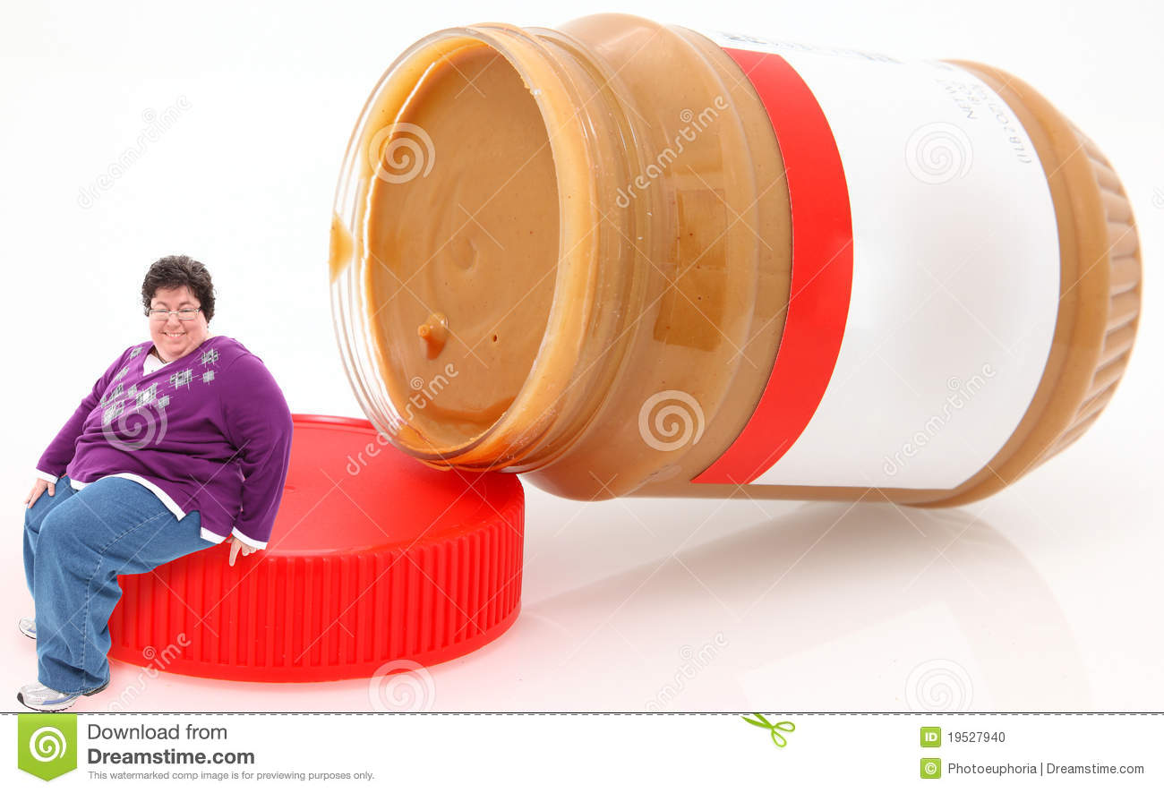 Pocket Vision Happy-overwieghtwoman-sitting-peanut-butter-jar-19527940