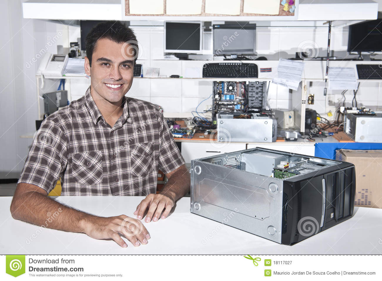 Happy Owner Of A Computer Repair Store Royalty Free Stock ...