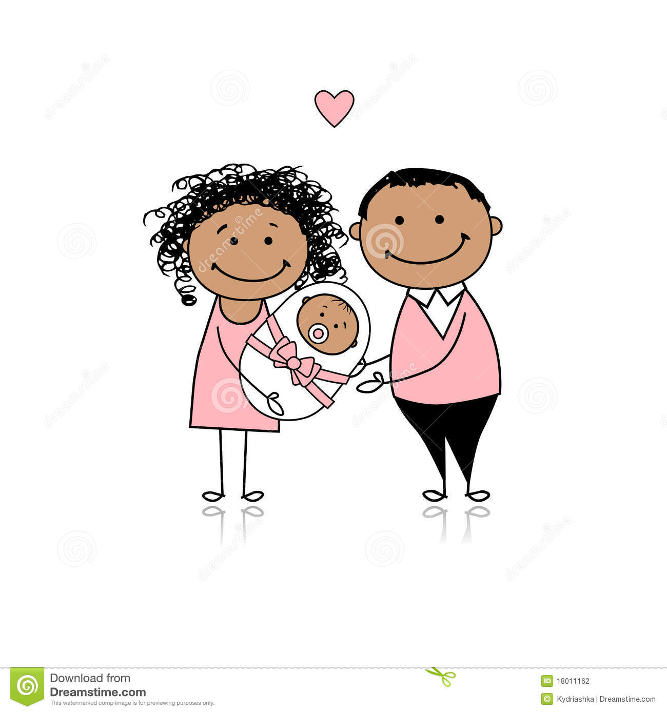 Good Download Happy Parents With Newborn Baby Stock Vector   Illustration Of  Daughter, Little: 18011162