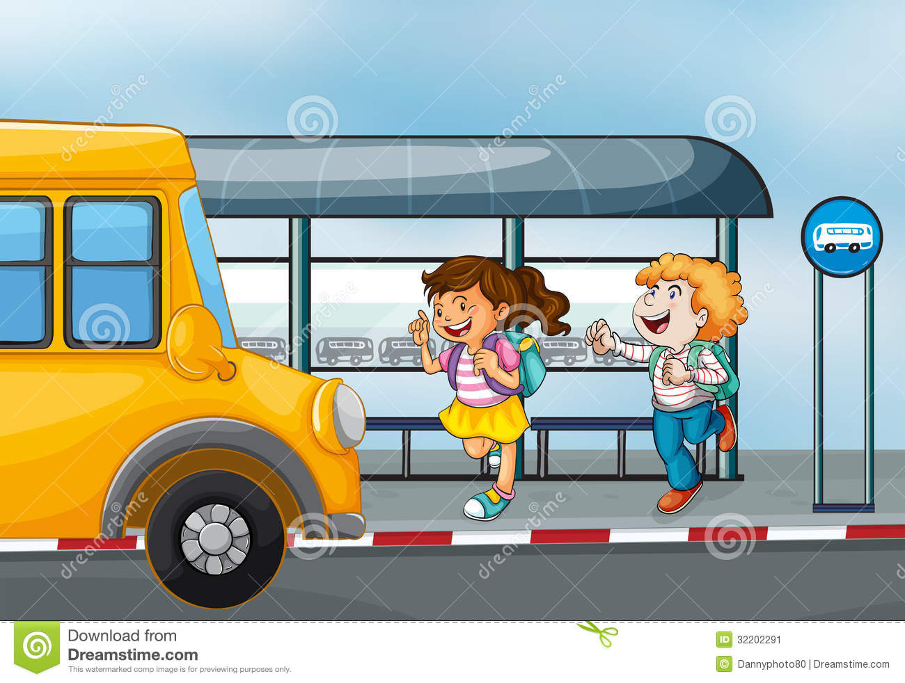 Happy Passengers At The Bus Station Stock Image - Image: 32202291