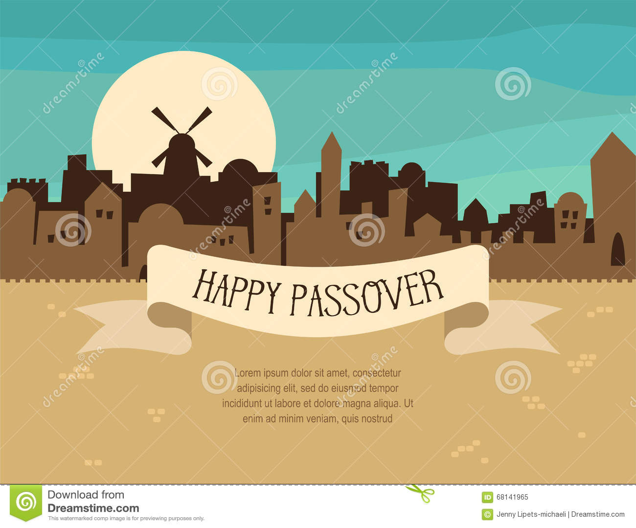 Happy passover greeting card design with jerusalem city skyline download comp m4hsunfo