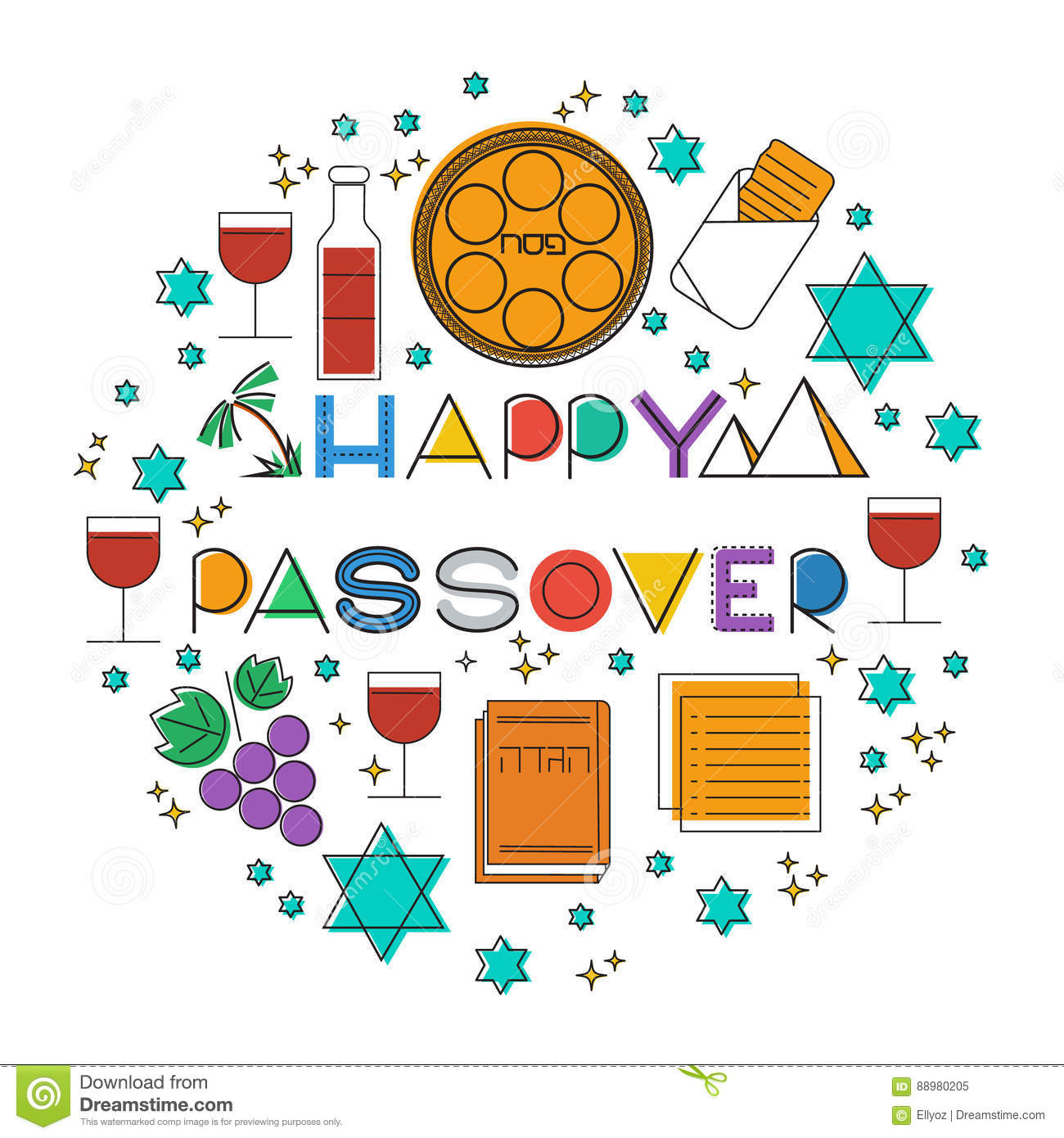 Happy passover greeting card stock vector illustration of outline download comp m4hsunfo
