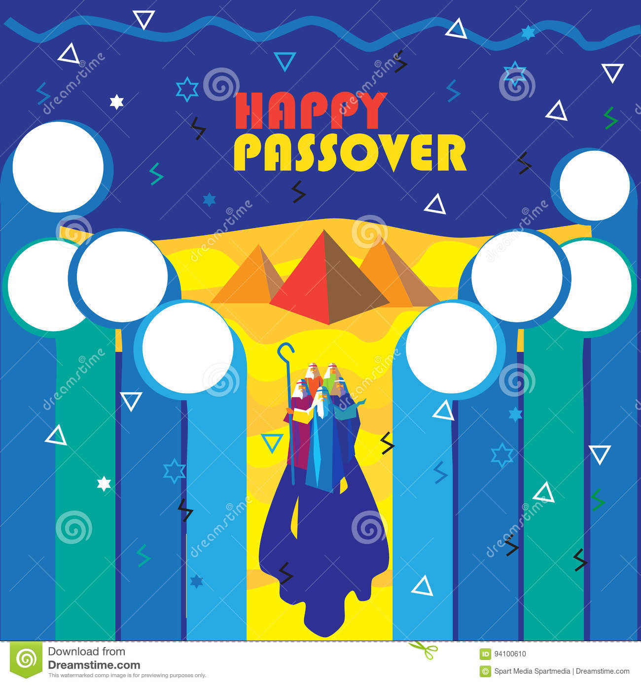 Passover Pesach Jewish Holiday Greeting Card Stock Vector