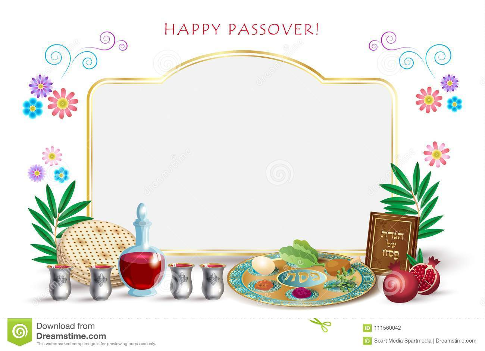 Passover Jewish Holiday Pesach Seder Symbols Stock Vector