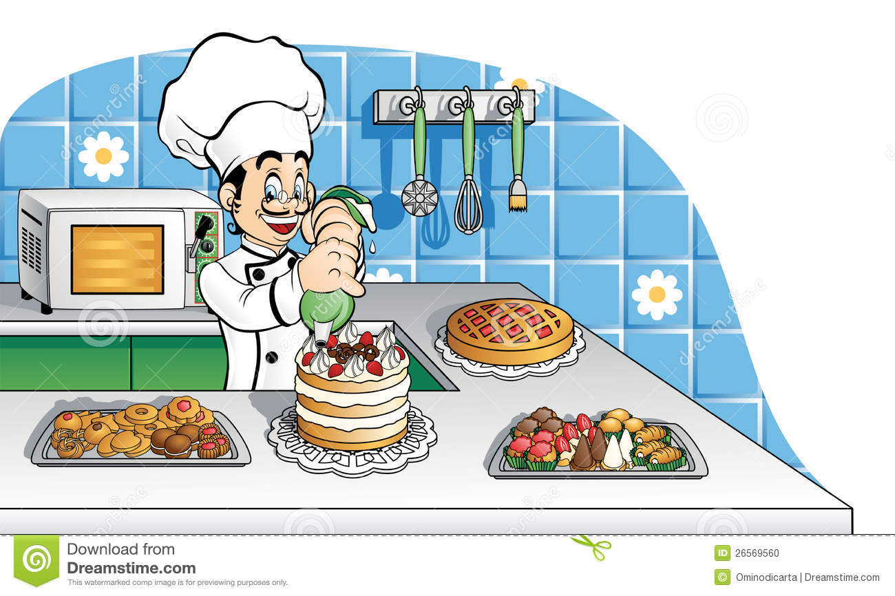 Happy Pastry Chef At Work Stock Photo - Image: 26569560