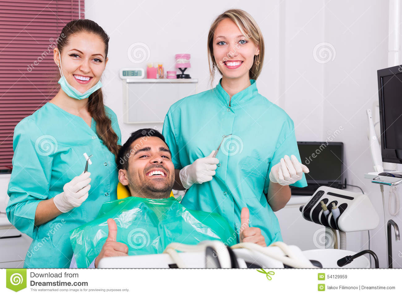 Happy Patient At Dental Clinic Stock Photo - Image: 54129959