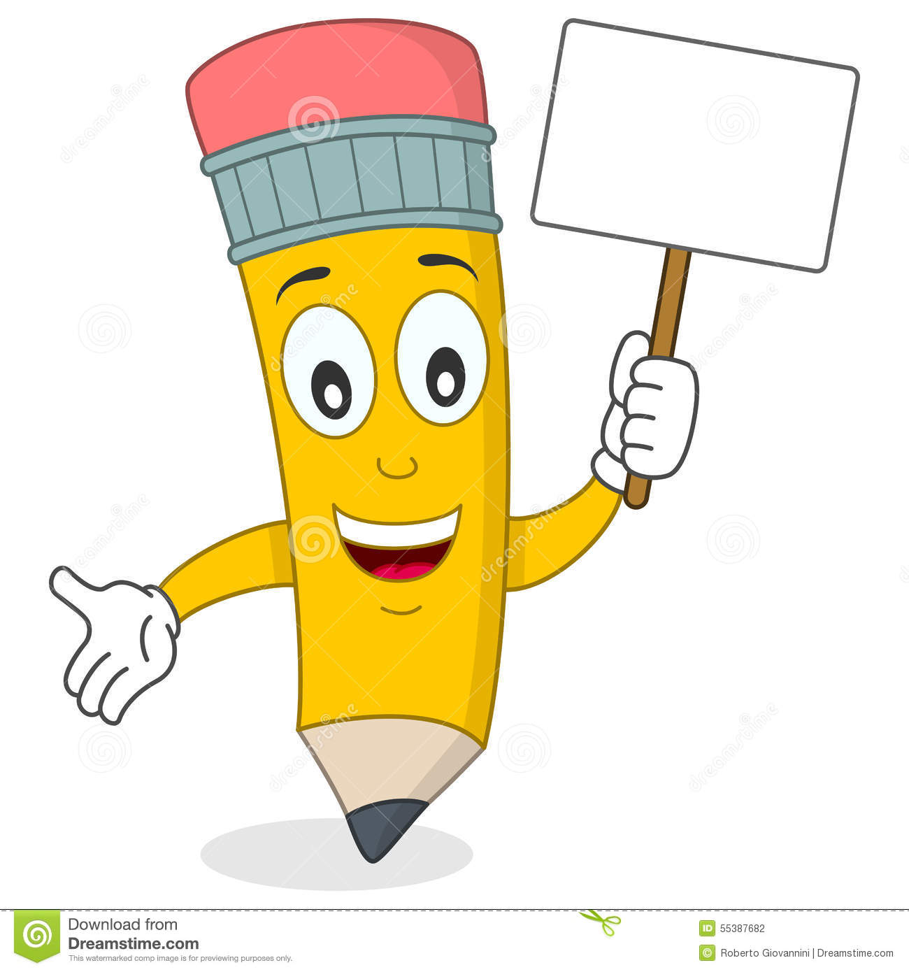 Happy Pencil Character Holding Banner Stock Vector - Image ...
