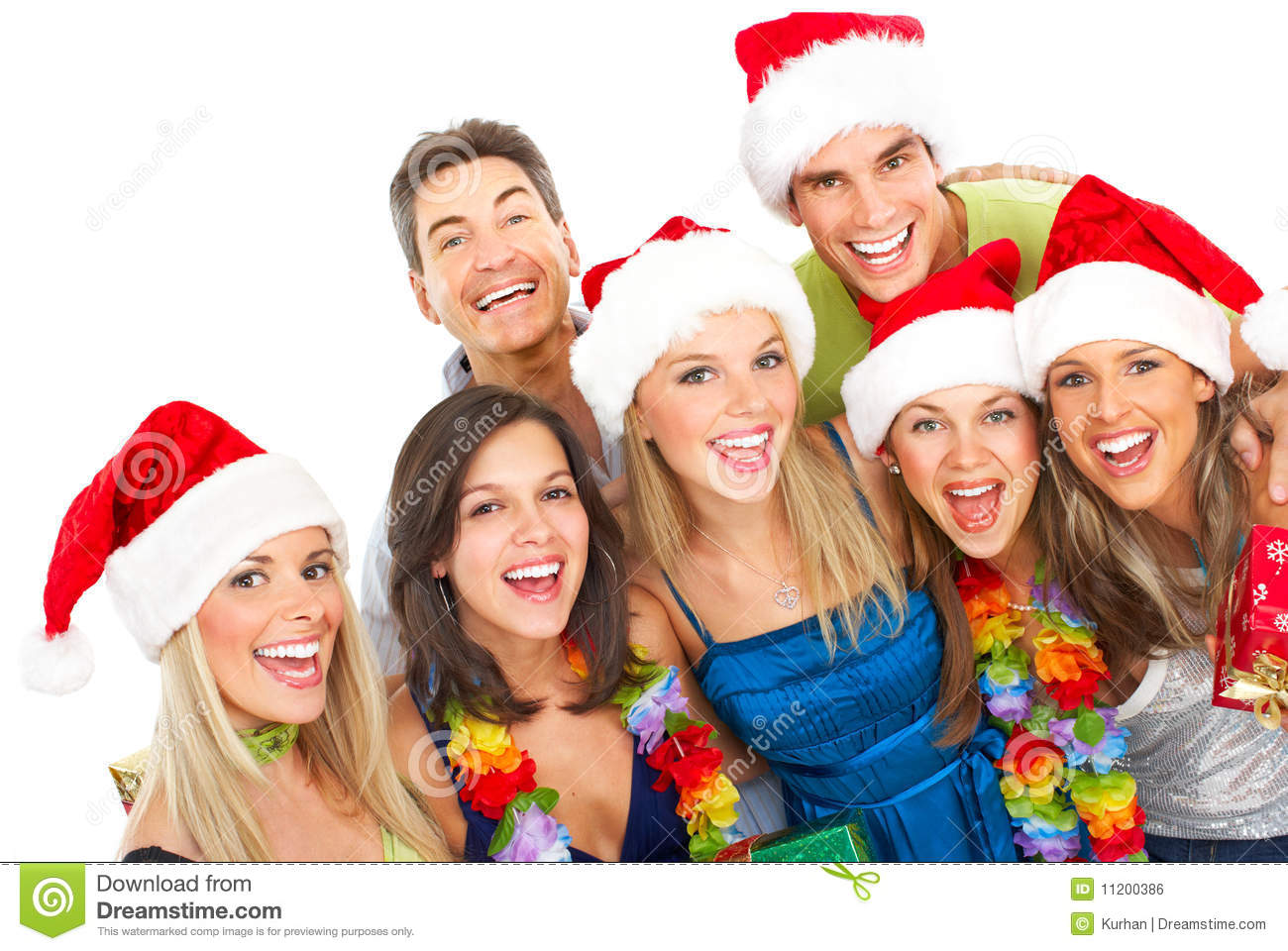 Happy funny people. Christmas. Party. Isolated over white background.