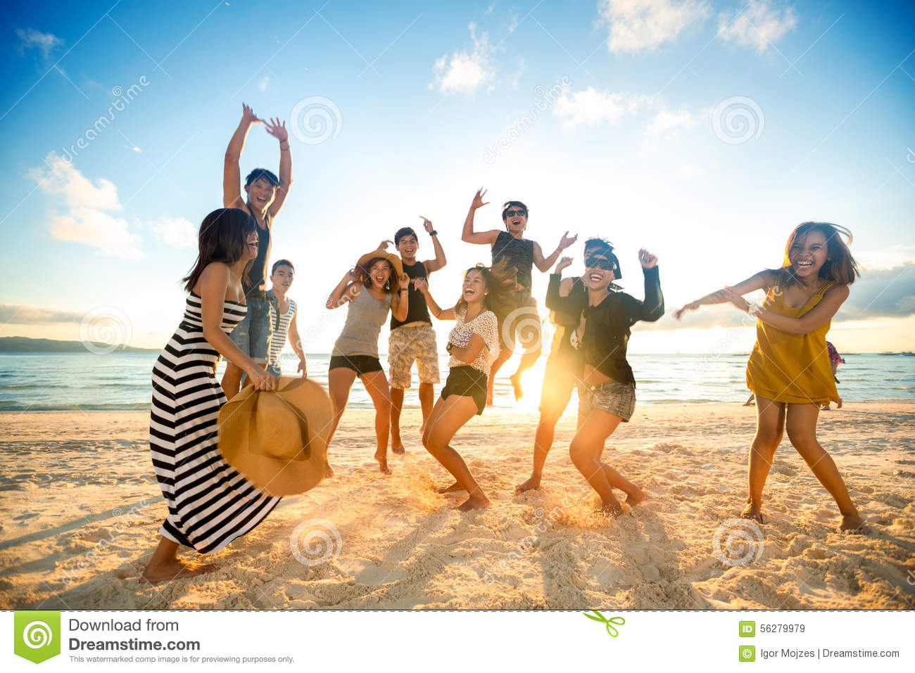 happy people on beach stock image image of jump festival 56279979
