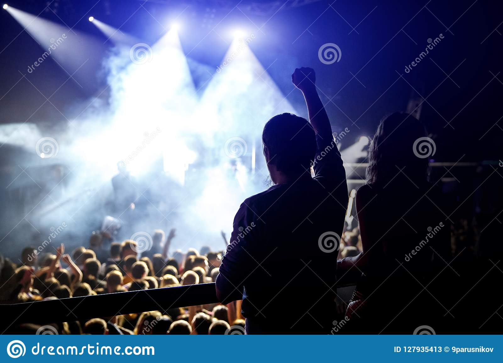 Happy people enjoying rock concert, raised up hands and clapping of pleasure, active night life concept