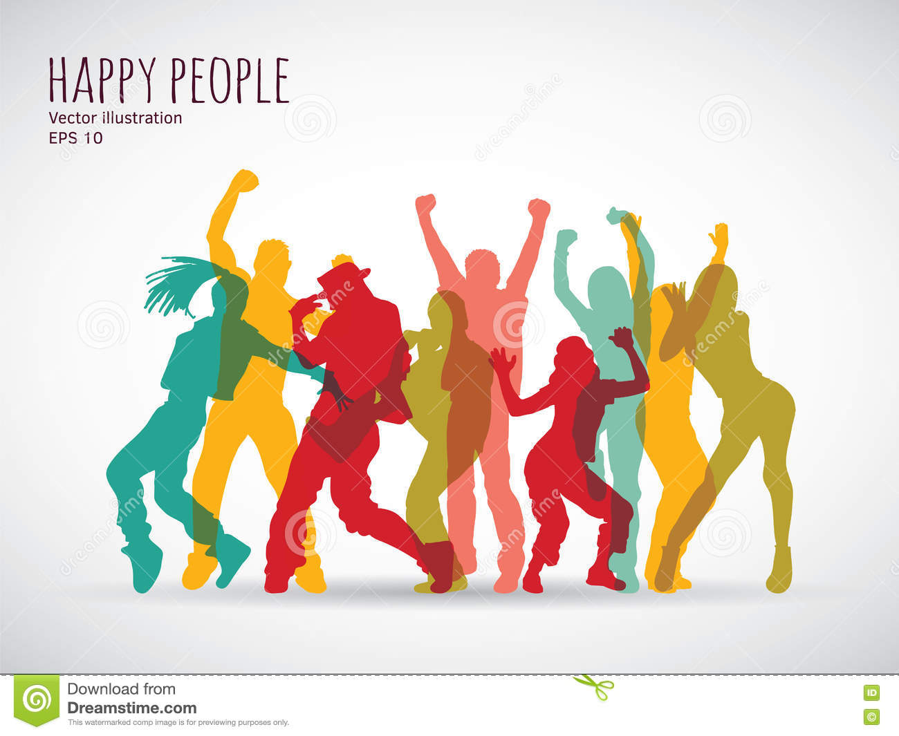 Happy People Group Shadow Color Silhouette Stock Vector