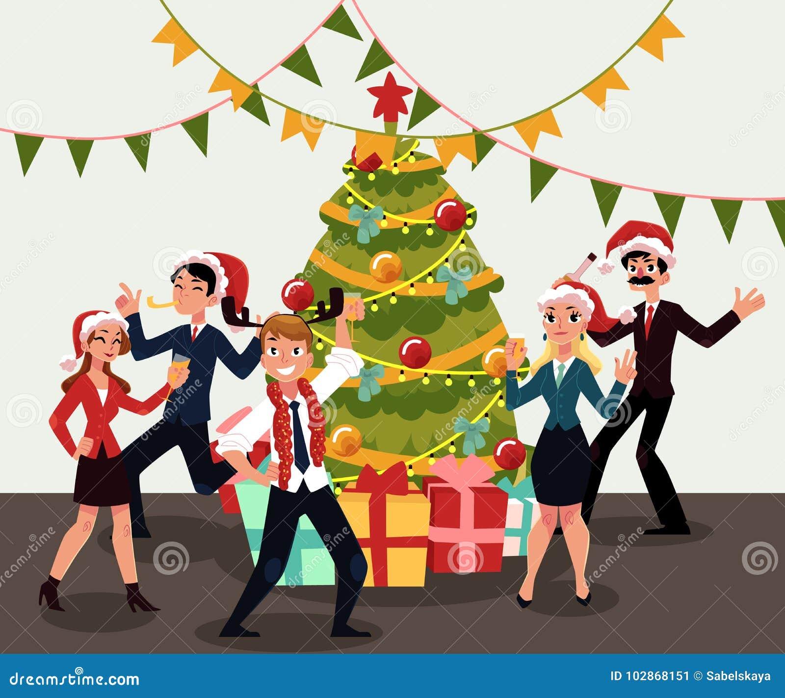 Christmas Celebration Cartoon Images.Happy People Having Corporate Xmas Party Celebrating