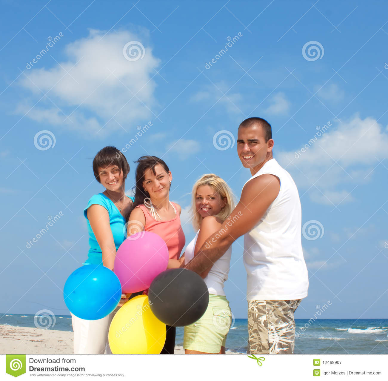 happy people holding balloons in cmyk colors royalty free stock photography image 12468907. Black Bedroom Furniture Sets. Home Design Ideas