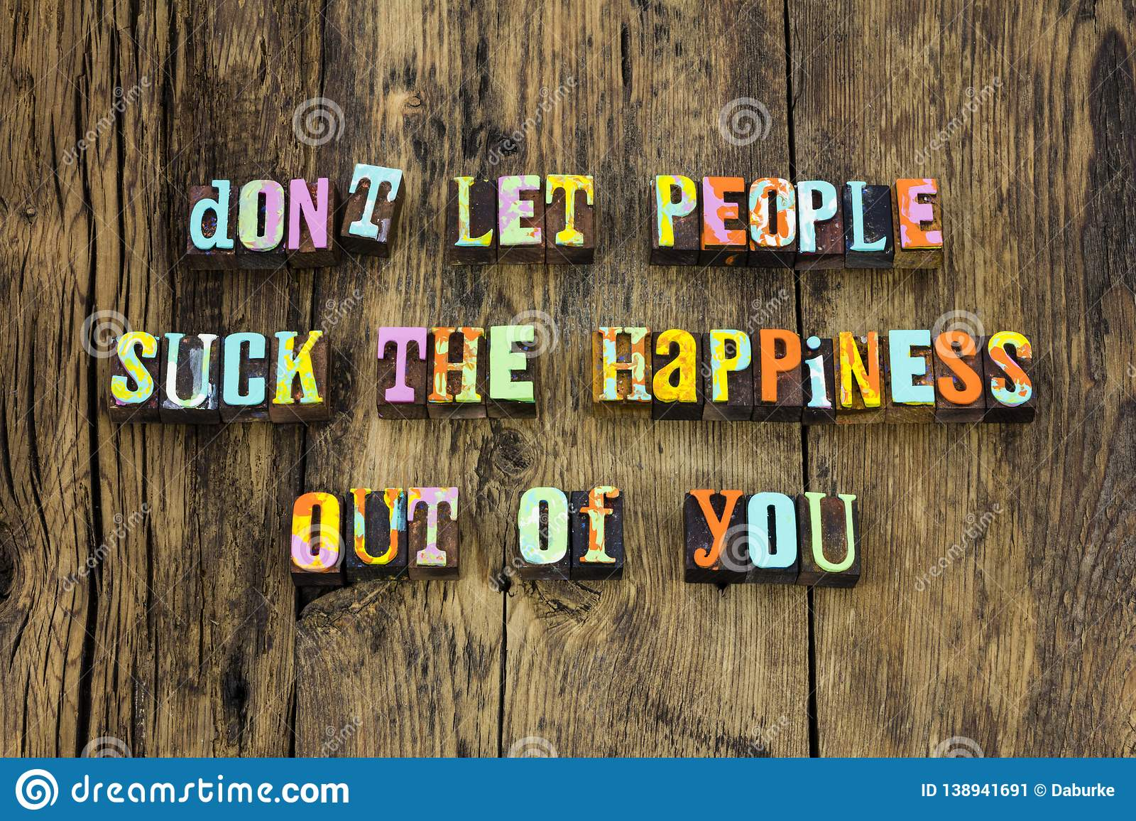 Happy people life enjoy positive letterpress