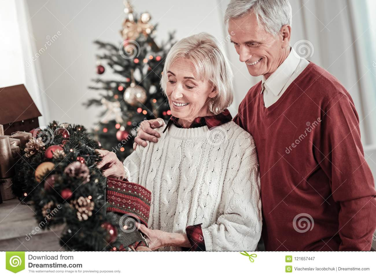 Happy People Preparing Presents For Grandchildren Stock Image ...