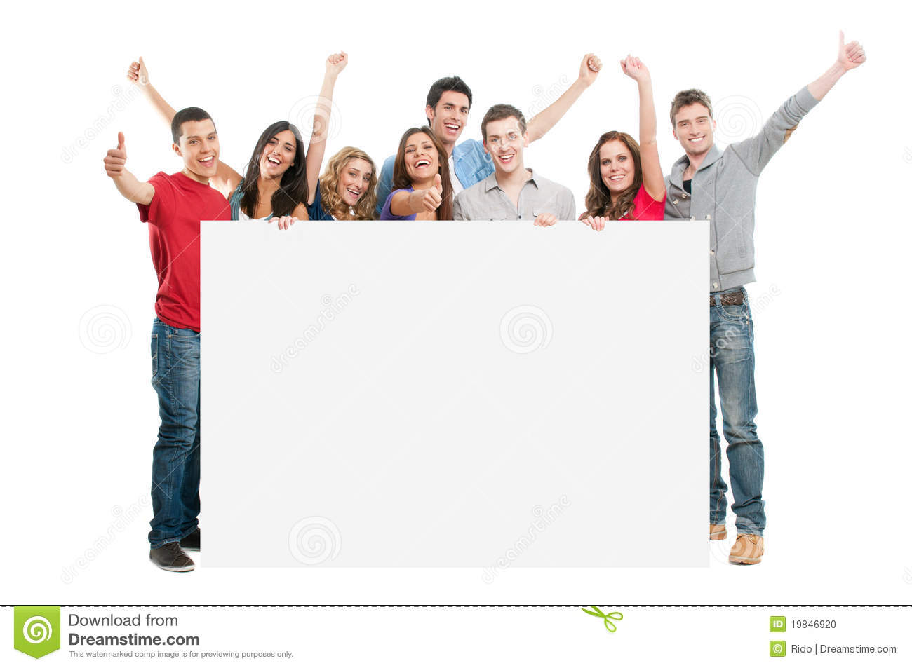 Happy joyful large group of friends diplaying white placard for your ...