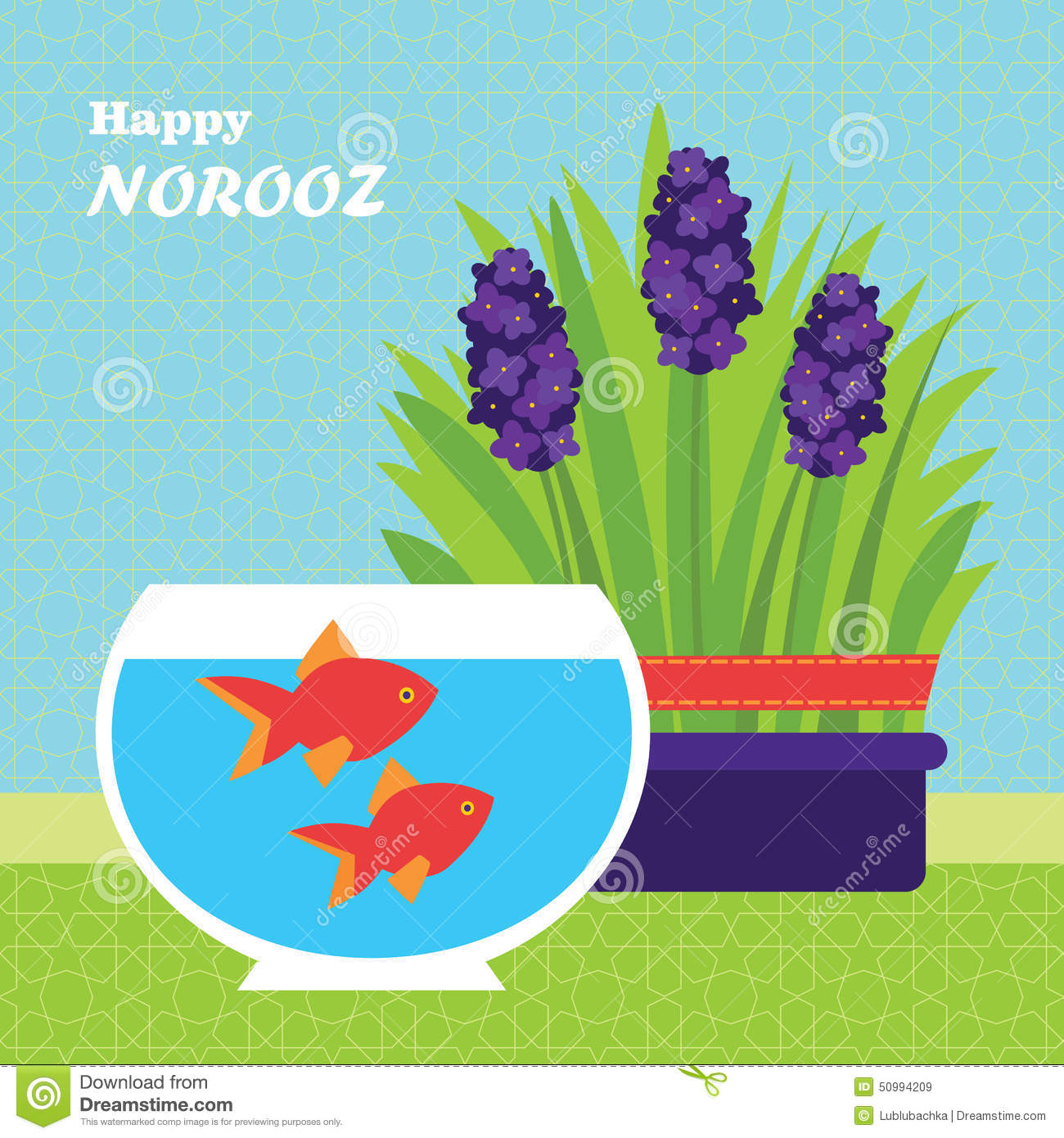 Happy Persian New Year Card Template. Illustration With Fish And Stock ...